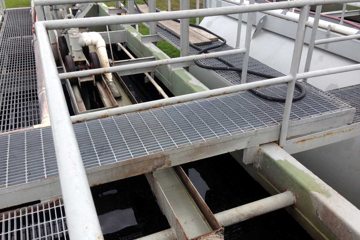 Clarified works pipe leading from WWTP to WWTP.