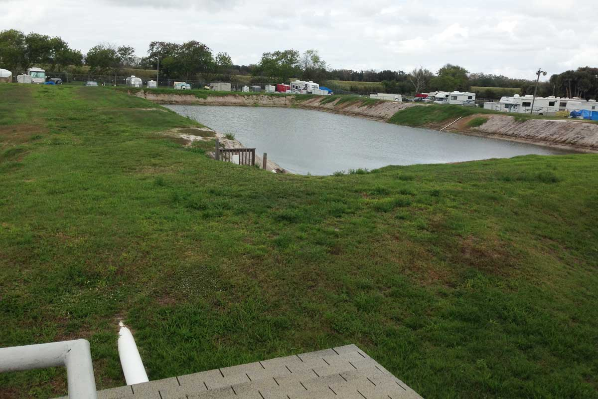 Percolation pond for wastewater treatment plant effluent.