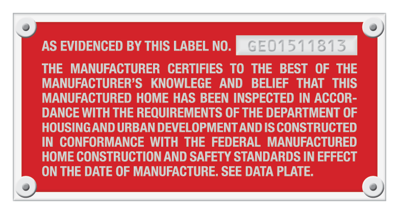Certification Plate